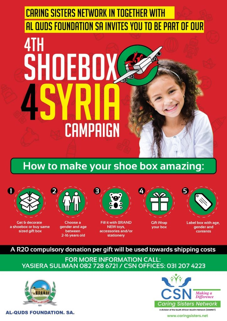 CARING SISTERS NETWORK 4TH SHOE BOX FOR SYRIA CAMPAIGN