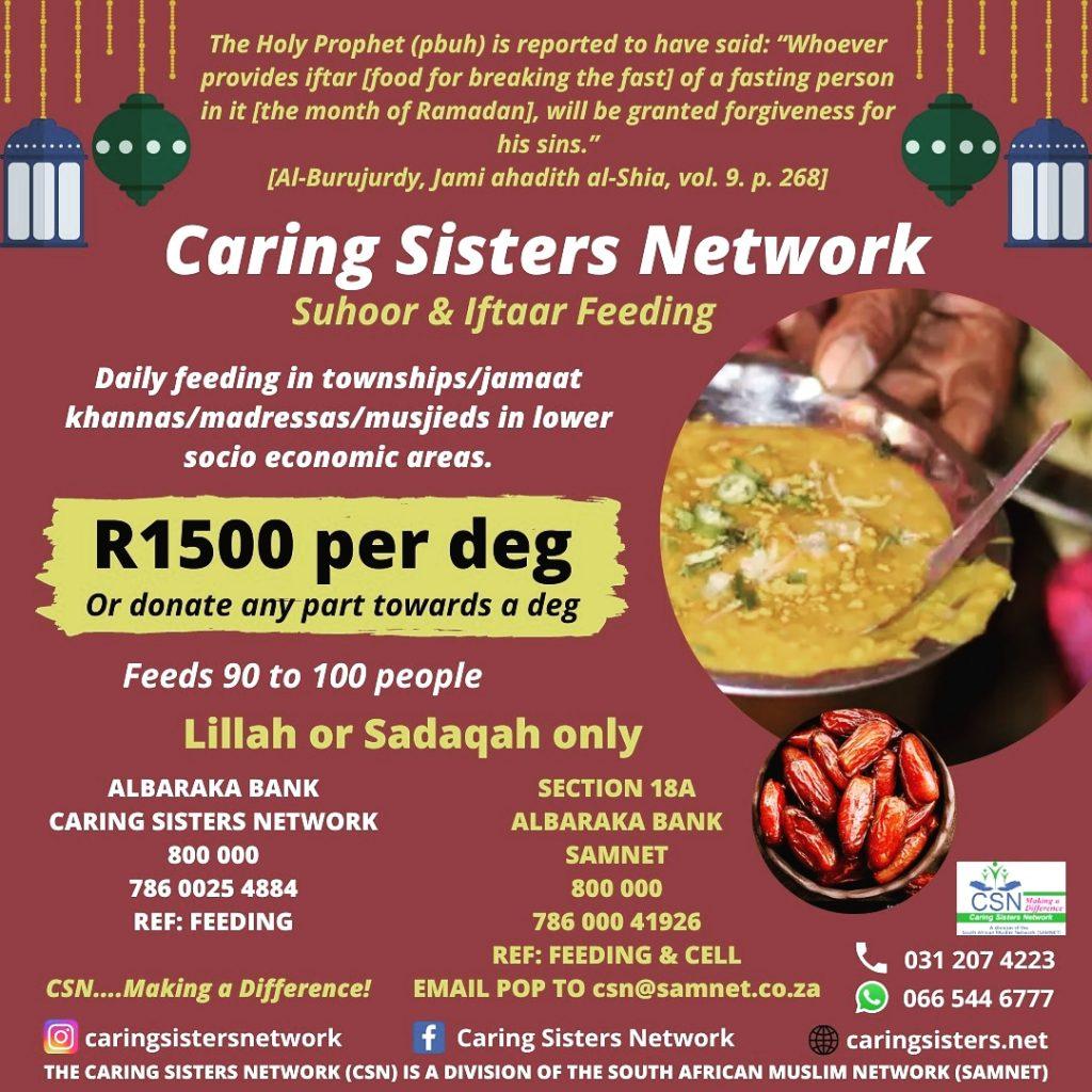 Caring Sisters Network Ramadaan 1442 Suhoor & Iftaar Feeding